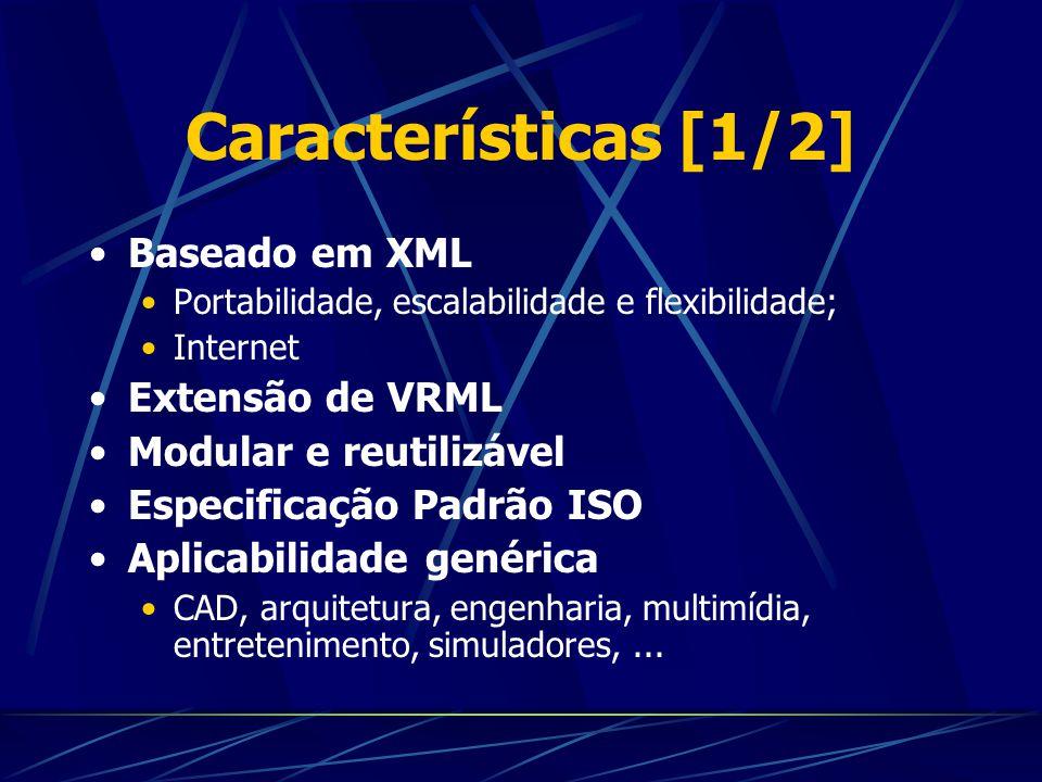 Características [1/2] Baseado em XML Extensão de VRML